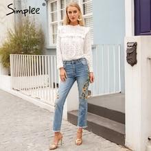 Simplee Zipper embroidery blue jeans women Boyfriend pocket denim jeans femme Streetwear ripped jeans casual trouser spring 2018