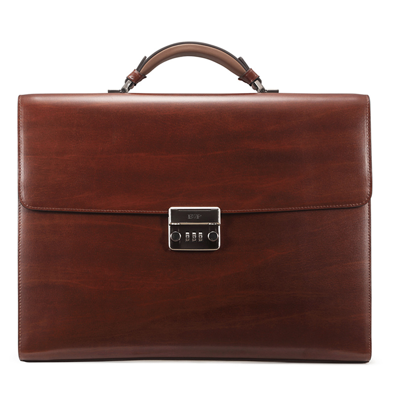 teemzone - Men's Genuine Leather High-end Business Briefcase Messenger 14