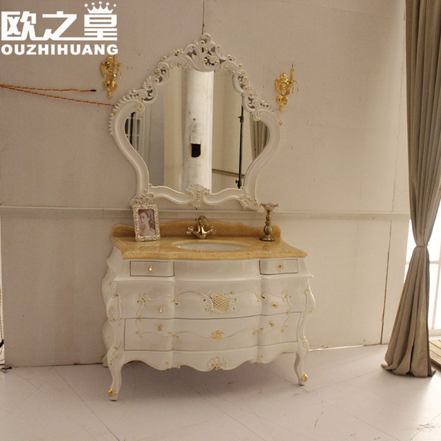 medio de gran calidad blanco lavabo moda gabinete combinacin mueble de bao roble encimera de mrmol