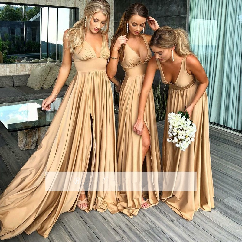 Champagne 2019 Cheap Bridesmaid Dresses Under 50 A-line Deep V-neck Slit Long Wedding Party Dresses For Women