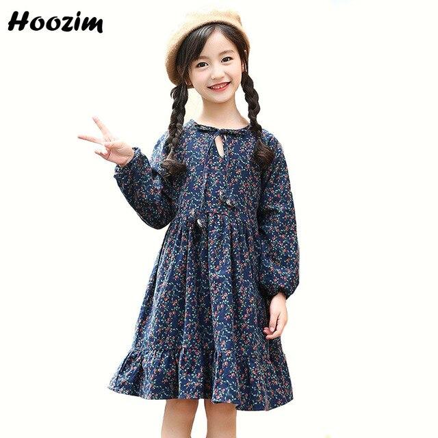 Зимнее платье для девочек, повседневные новогодние платья с длинными рукавами и цветочным принтом для девочек 8, 9, 10, 11, 12 лет, красное плотное бархатное платье для детей