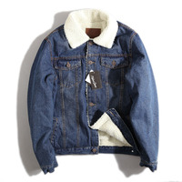 M XXL New Retro Warm Denim Jackets Mens Jeans Coats Winter Jackets Brand Clothing Thicken Denim