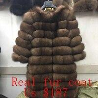 2018 New Brand Winter Real Blue Fox Fur Coat Thick Warm Imitation Of Sables Women's Light Brown Long Jacket The fox fur Coat