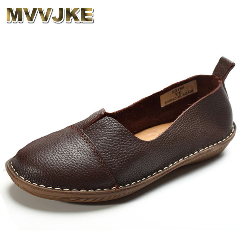 MVVJKE Women's Shoes Genuine Leather Slip on Loafers Round toe Coffee White Women's Shoes Flats Spring Autumn Footwear