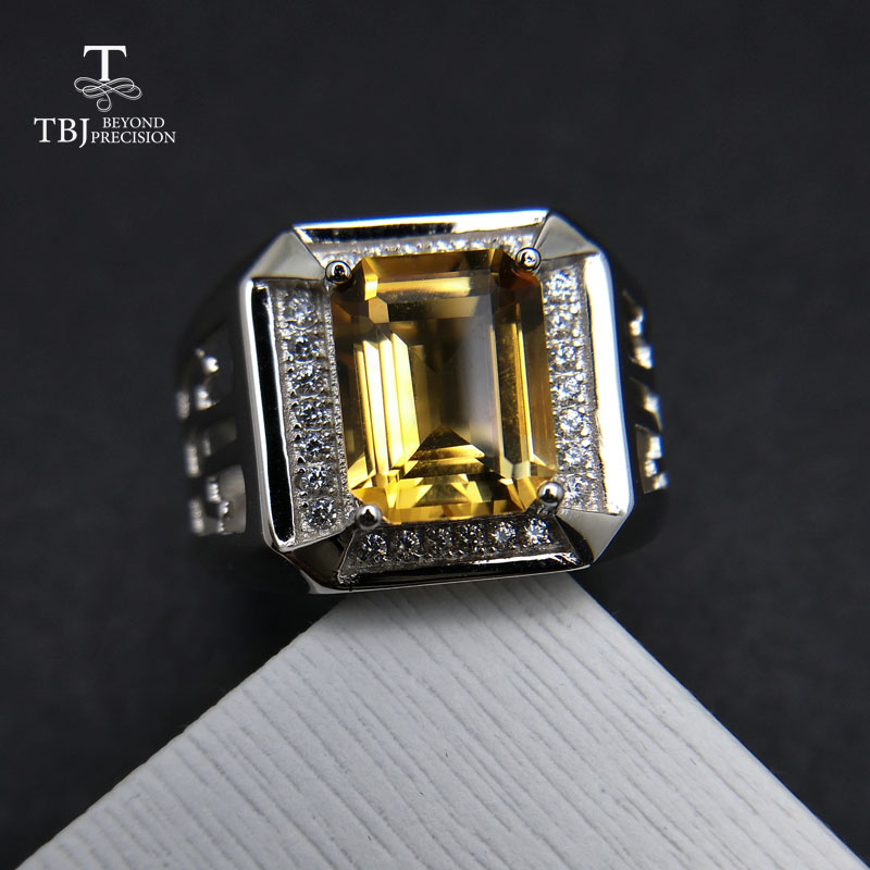 TBJ, emerald cut natural citrine men's ring in 925 sterling silver gemstone jewelry,unisex boyfriend gemstone ring with gift box