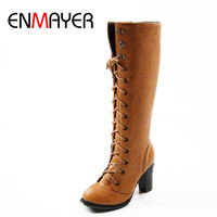2013 Fashion Lace Up Women S Platform Knee Boots For Ladies Long Boot Drop Shipping EUR