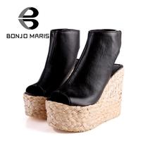 Big Size 34-43 Bohemia Weaven Wedges Ankle Wrap Cut outs Sandals 2015 High Heels Platform Sandals Summer Sandals Women Shoes