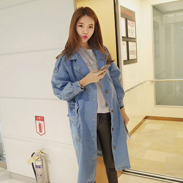 High Waist Denim Jackets Women Loose Long Outerwear Coat  Boyfriend Style 2015 New Fashion Spring Autumn Cardigan 1464