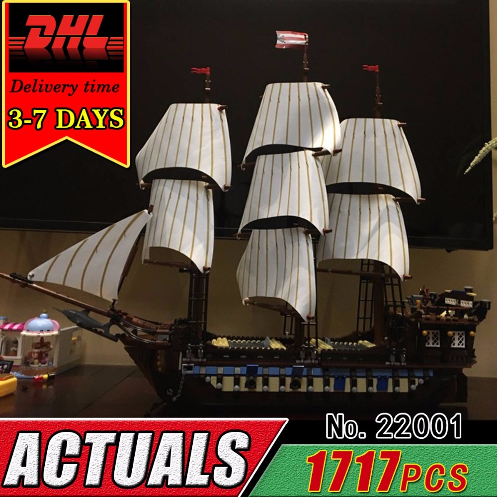 DHL LEPIN 22001 Pirate Ship Model Building Blocks Set Toy Children Kid The Caribbean Boat Compatible Bricks Kit Educational Gift new lepin 22001 pirate ship imperial warships model building kits block briks toys gift 1717pcs compatible