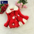 2016 autumn and winter Baby Kids Girls Faux Fur Fleece Party Coat Warm Jacket sweater coat Thickened Snowsuit  Fashion packet