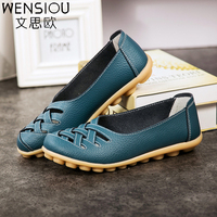 New Fashion PU Leather Woman Flats 2017 Spring Moccasins Comfortable Casual Shoes Cut Outs Leisure Flat