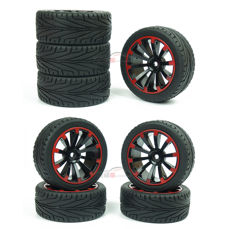 4pc 1/10 On Road Car Racing Tires 64MM Rubber Tyre Metal