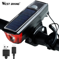 WEST BIKING Bike Light Solar Powered USB Rechargeable LED Bicycle Light Waterproof Headlight Taillight Cycling Safety