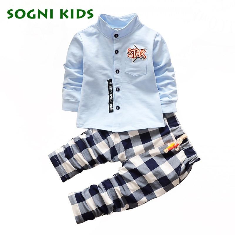 Autumn Kids Boy Clothes Sets Cotton T Shirt+ Plaid Pants Suit Baby Boy Clothing Set 2017 New Toddler Casual Suits For Children