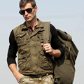 Plus Size XXL Autumn Man's Army Green Black Sleeveless Cotton Outdoor Fishing Vest Coat  Casual Male  Photographer vests Jackets