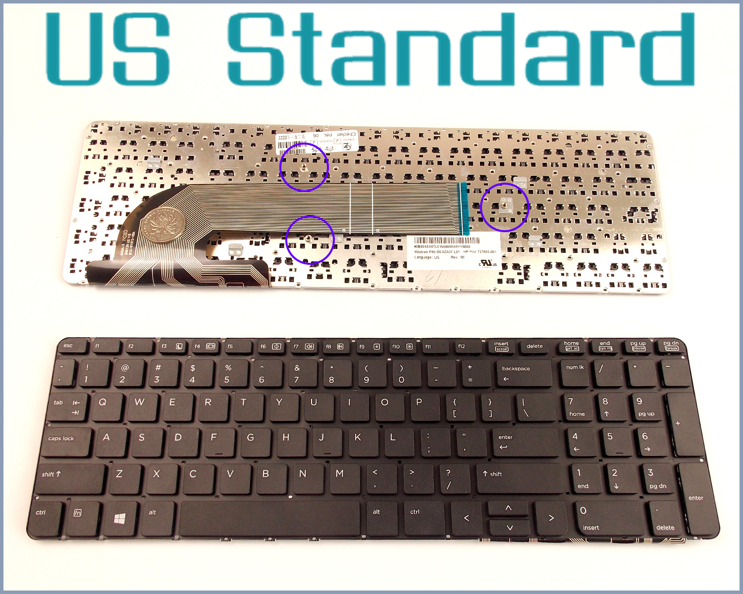 US English Version Keyboard For HP PROBOOK 450 G2 470 G2 SN8126 90.4ZA07.L01 6037B0088501 721953-B31 Laptop