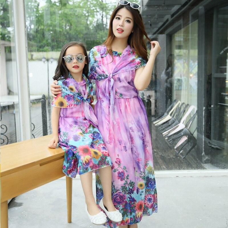 Liroy Burble Store Domeya Summer Mother Dress Mom and Daughter Dress Bohemia Beach Resort Chiffon Dress8 Color Family Matching Outfits Girls Dress