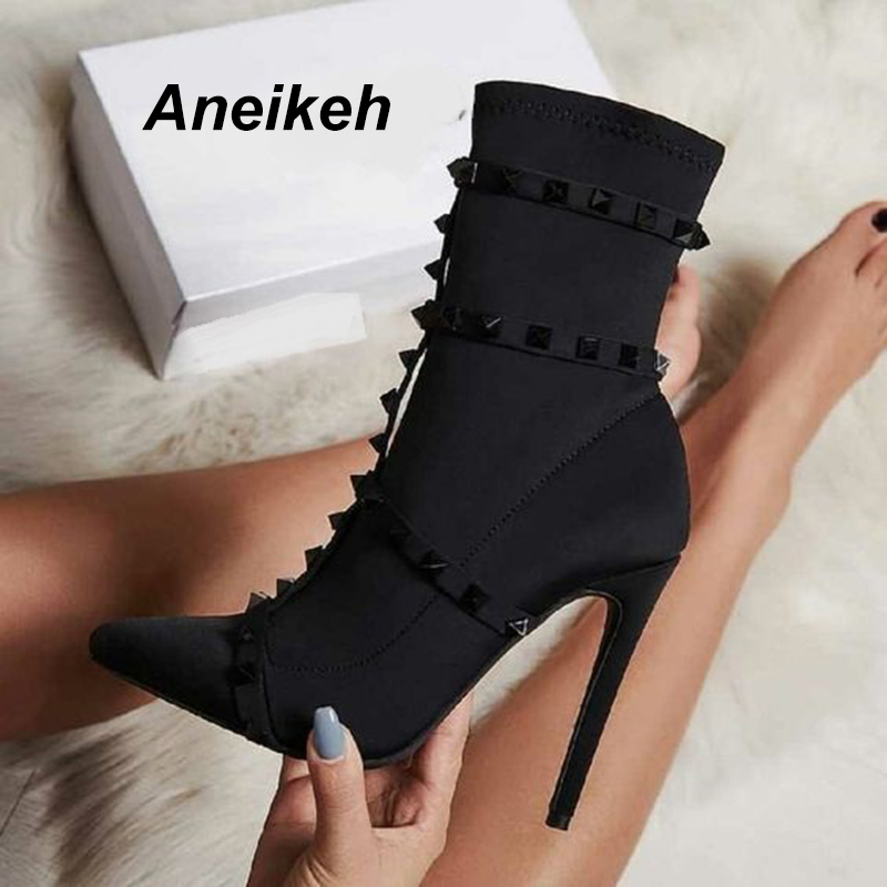 Aneikeh 2019 New Women's Fashion Rivets High Heels Pumps Sexy Thin Heel Pointed Toe Motorcycle Women Ankle Chelsea Boots Shoes summer bling thin heels pumps pointed toe fashion sexy high heels boots 2016 new big size 41 42 43 pumps 20161217