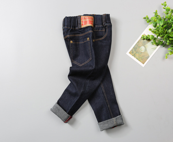 2017 Children Denim Pants Spring & Autumn Baby Solid Elastic Waist Jeans Knitting Fashion soft cotton Trousers for Kids