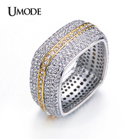 UMODE Brand Square Wedding Band Two Tone Gold Plated Eternity Rings For Women Luxury Jewelry Paved