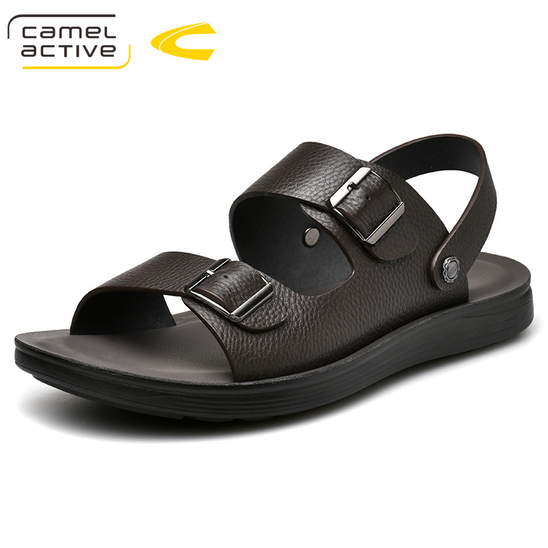 Camel Active 2019 New Summer Outdoor Casual Men's Sandals Genuine Leather Shoes Beach Male Hand Stitching Wrapped Toe Sandals