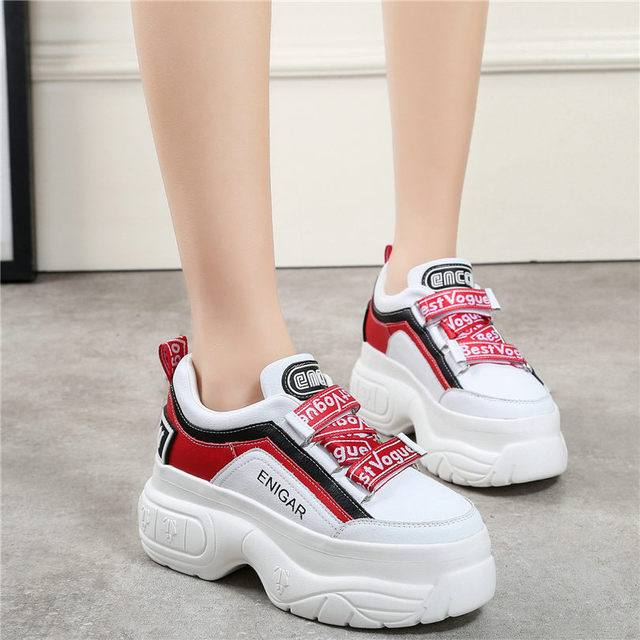 NAYIDUYUN     Punk Creepers Walking Shoes Women Cow Leather Wedges High Heel Pumps Shoes Lace Up Platform Sneakers Casual Shoes