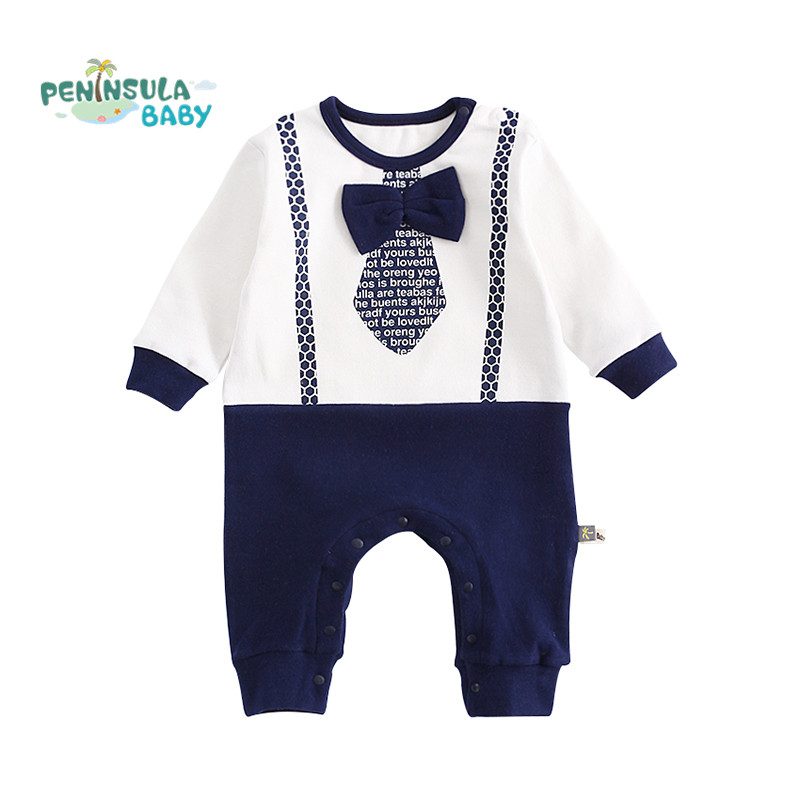 2017 Autumn Baby Rompers Gentleman Tie Cotton Long Sleeve Jumpsuits Newborn Boys Spring Clothes Infant Toddler Costume Outerwear baby clothing newborn baby rompers jumpsuits cotton infant long sleeve jumpsuit boys girls spring autumn wear romper clothes set