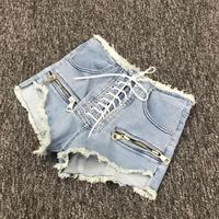 2018 summer new fashion zipper sexy high waist shorts female blue black grey college style lace up Korean denim shorts L215