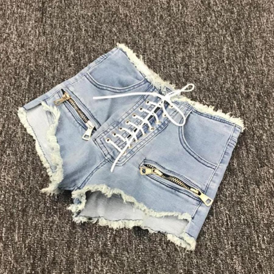 2019 summer new fashion zipper sexy high waist   shorts   female blue black grey college style lace up Korean denim   shorts   L215