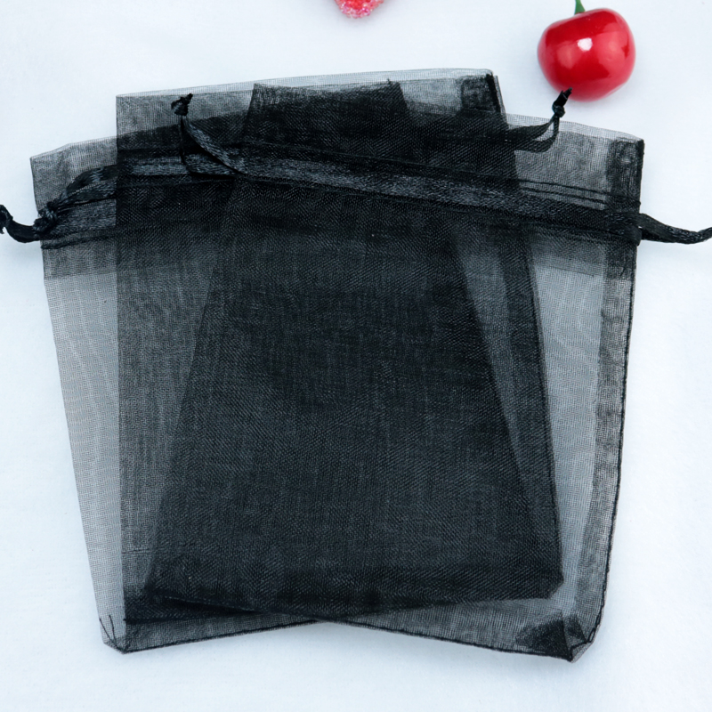 500pcs lot Black Organza Bags 11x16cm Jewelry Package Bag Christmas Boutique Nuts Gift Packaging Bags Organza
