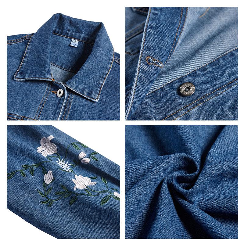Jeans Mode Cardigan Femme 2018 D'hiver Femmes Veste De Fleur Brodé Survêtement Lâche En Jean Manteau Coupe Bleu vent Automne vCwCxqZtB