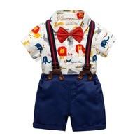 Baby Boys Outfit Cotton Short Sleeve Print Clothes Bodysuit Tops+ Bib Pants Baby 2PCS Gentleman Set