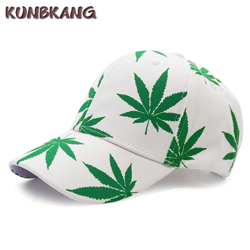 Shaoqingren /New Embroidery Maple Leaf White Cap Weed Snapback Fashion Hats for Men Women Cotton Swag Hip Hop Fitted Baseball Caps,