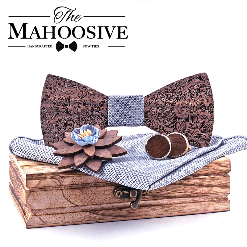 Formal Clasic Grey Tie For Men Wedding Wooden Bow Tie Set Gift Hanky Cufflinks Set For Men Designer Fashion Silk Ties
