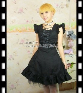 Joli Costume Lolita Lolita robe en pur coton imprimé Lolita JSK noir
