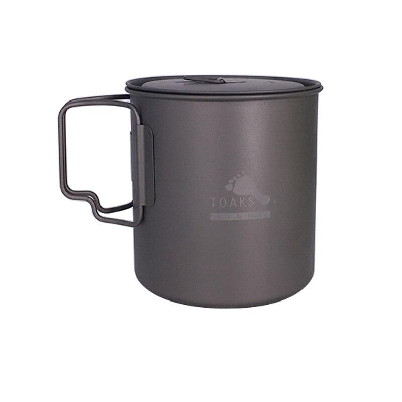 TOAKS POT-650-L Pot en titane ultraléger poignée pliante en plein air Camping tasse en titane bol en titane 650 ml pique-nique batterie de cuisine ensemble Pot