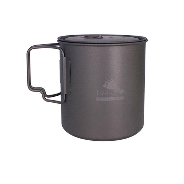 TOAKS POT-650-L Ultralight Titanium Pot Folding Handle Outdoor Camping Titanium Cup Titanium Bowl 650ml Picnic Cookware Set Pot