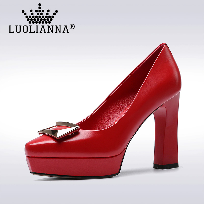 Lady shoes High Heels Shoes Women Genuine Leather pumps Pointed Toe shallow mouth Platform Shoes Thick Heel Cow leather Pumps new fashion thick heels woman shoes pointed toe shallow mouth ankle strap thick heels pumps velvet mary janes shoes