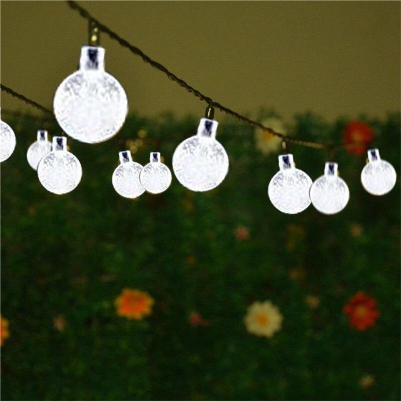 7M 50leds Ball Pendant LED Solar String Lights Outdoor Garland Street Festoon Decors For Holiday Garden Tree Wedding Party Xams