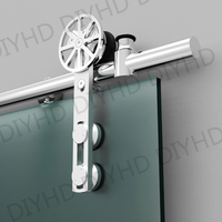 European Style Stainless Steel Sliding Barn Glass Door Hardware Sliding Barn Track Hardware With Movable Decoration
