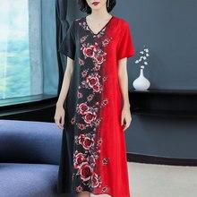 Flowing Red Silk Dress High Quality Plus Size Big for Women 2019 Summer Loose Midi V-neck Floral Print Elegant Vintage Clothing