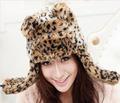 Sprcial Women's Leopard Print Faux Fur Eaeflap Hat Fashion Animial Head Bomber Hat For women russian fur hat adult Cap CP036