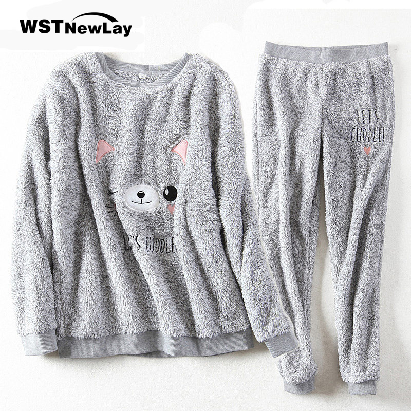2019 Women   Pajama     Sets   Autumn Winter Flannel Cartoon Warm Pyjamas Women Homewear Animal Sleepwear Cat female   Pajamas   For Home