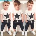 Bear Leader Baby Clothing Sets 2016 Summer Style Baby Girls Boys Clothes Black Letter T-shirt+Imitation cowboy pants 2pcs suit