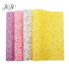 JOJO BOWS 22*30cm Sparkly Chunky Glitter Fabric For Needlework Solid Circle Sheet Bows DIY Craft Supplies Home Textile 1pc