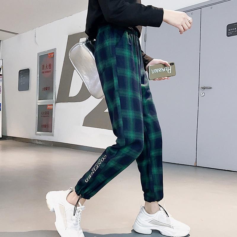 2019 Spring Summer Women Pants Vintage Black Plaid Pants Harajuku Casual Drawstring Ankle Length Loose Wide Leg Joggers Pants