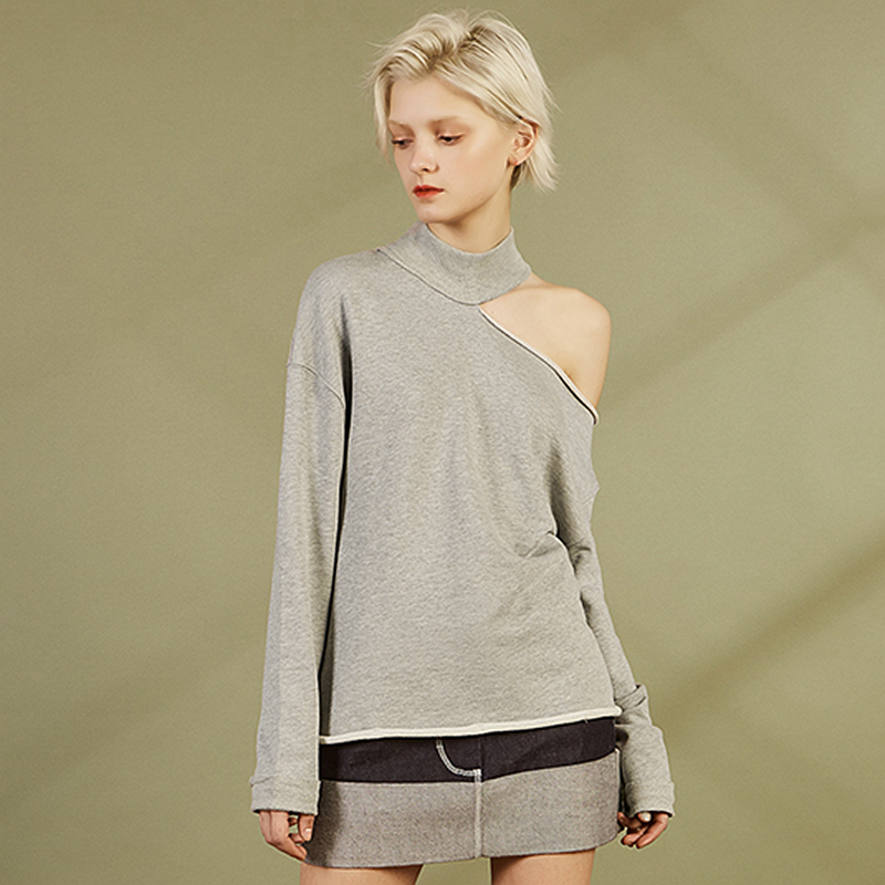 Sweatshirts Women Asymmetric Shoulder 100 Cotton Terry Turtleneck Long Sleeve Casual Loose