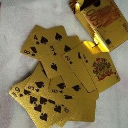 Euro Jogando Cartões Porker Cartão Cartão De Plástico Clássico Conjunto de 100% À Prova D' Água De Plástico Cartão De Jogo Jogo Do Clube Presente Banhado A Ouro Baralho