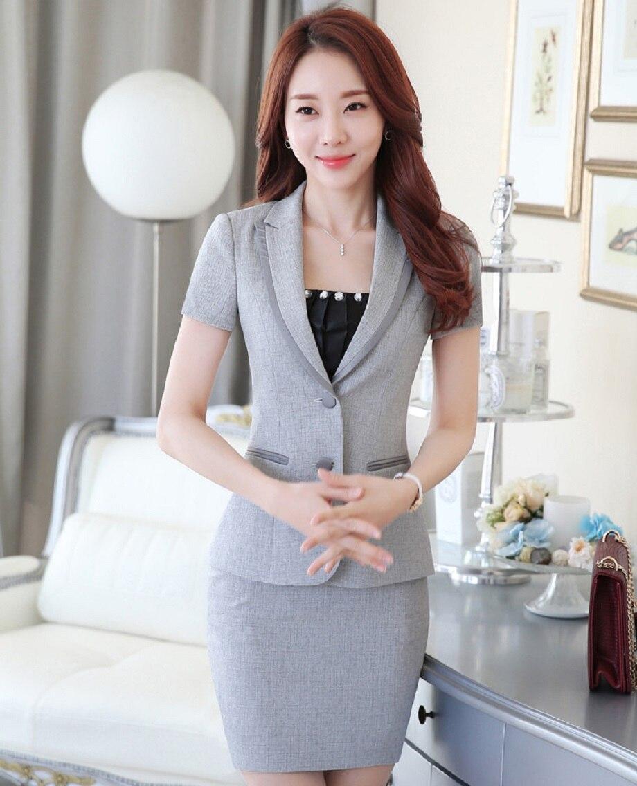 KöStlich Neue Ankunft Neuheit Grau Professional Business Kurzarm 2016 Sommer Frauen Arbeit Anzüge Jacken Und Rock Weibliche Blazer Outfit