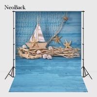 NeoBack Blue Tone Pasgeboren Baby Seashell Zeilen Foto achtergronden Vinyl Digitale Gedrukt Studio Fotografie Achtergronden P1327
